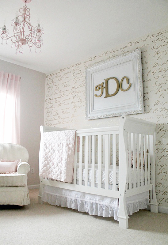 A Diy Stenciled Accent Wall In Nursery Using The French Poem Allover Stencil From Cutting