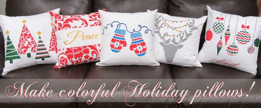 Cutting Edge Stencils shares DIY stenciled accent pillows using holiday themed stencils. http://www.cuttingedgestencils.com/accent-pillow-stencil-kits.html
