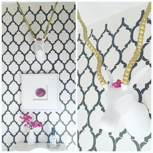 A DIY stenciled powder room using the Moroccan Dream Allover Stencil from Cutting Edge Stencils. http://www.cuttingedgestencils.com/moroccan-stencil-design.html