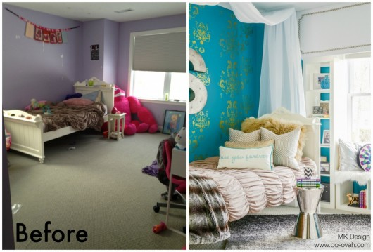 A before and after for a DIY stenciled tween girl bedroom using the Oceana Damask Stencil in metallic gold. http://www.cuttingedgestencils.com/stencil-nautical-decor.html