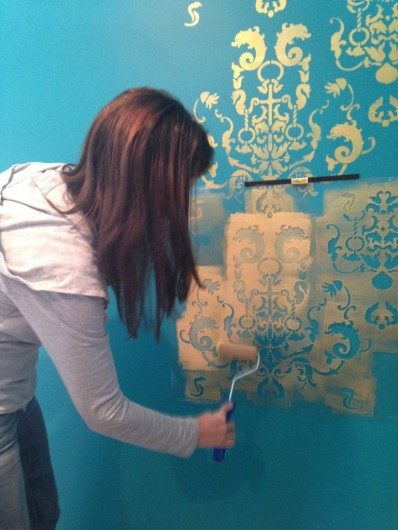 Stenciling a DIY accent wall using the Oceana Damask Stencil from Cutting Edge Stencils. http://www.cuttingedgestencils.com/stencil-nautical-decor.html