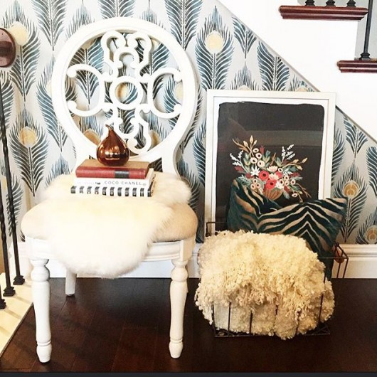 A DIY stenciled accent wall using the Peacock Feather Allover Stencil. http://www.cuttingedgestencils.com/peacock-feather-wall-stencil-pattern.html