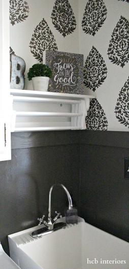A DIY laundry room using the Sari Paisley Allover Stencil from Cutting Edge Stencils. http://www.cuttingedgestencils.com/sari-paisley-allover-stencil.html