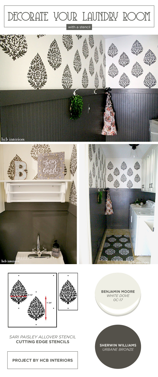 Cutting Edge Stencils shares a DIY stenciled laundry room makeover using the Sari Paisley Allover wall stencil. http://www.cuttingedgestencils.com/sari-paisley-allover-stencil.html