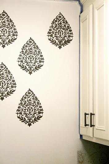 Stenciling a DIY laundry room using the Sari Paisley Allover Stencil from Cutting Edge Stencils. http://www.cuttingedgestencils.com/sari-paisley-allover-stencil.html