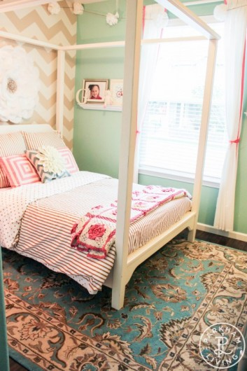 A DIY stenciled girls bedroom idea using the Chevron Allover Stencil from Cutting Edge Stencils. http://www.cuttingedgestencils.com/chevron-stencil-pattern.html