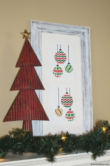 A DIY stenciled old frame using the Christmas Ornaments Stencil from Cutting Edge Stencils. http://www.cuttingedgestencils.com/christmas-ornaments-card-making-stencil-design.html