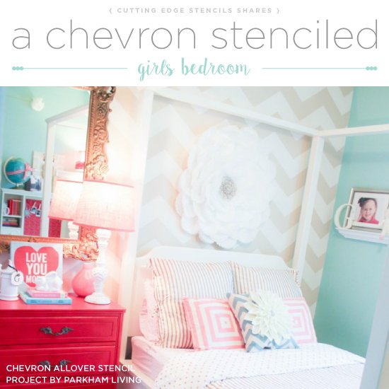 Cutting Edge Stencils  shares a DIY girls stenciled bedroom accent wall using the Chevron Allover Stencil. http://www.cuttingedgestencils.com/chevron-stencil-pattern.html