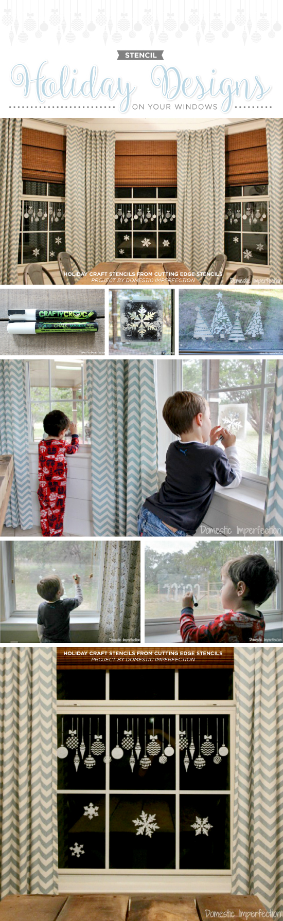 Cutting edge stencils shares how to decorate your windows using holiday themed stencils and a chalk