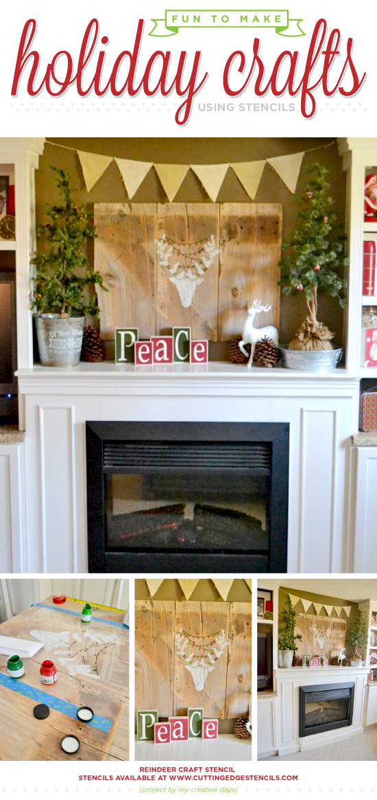 Cutting Edge Stencils shares DIY stenciled Christmas mantel art using Reindeer Craft Stencil. . http://www.cuttingedgestencils.com/reindeer-holiday-pillow-design-christmas-accent-pillows-diy-decor.html
