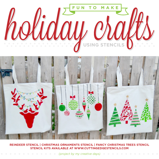 Cutting Edge Stencils shares DIY stenciled Holiday crafts using Christmas Stencils. http://www.cuttingedgestencils.com/christmas-stencils-valentine-halloween.html