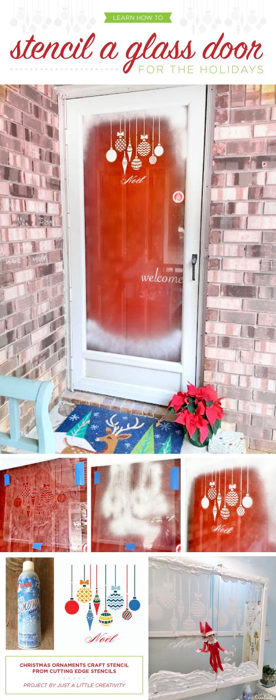 Cutting Edge Stencils shares a DIY decorating idea to stencil a glass door using the Christmas Ornaments Stencil. http://www.cuttingedgestencils.com/christmas-ornamnets-accent-pillow-stencil-kit.html