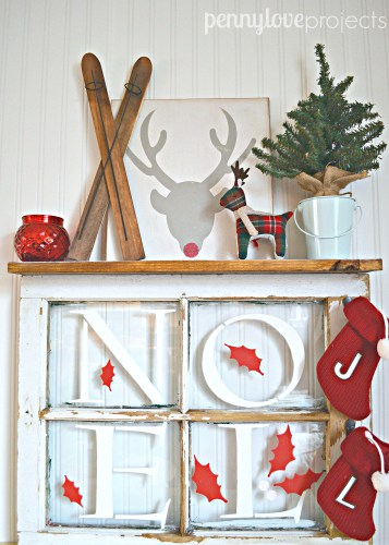 A DIY stenciled window wall rack using the Noel Craft Stencil from Cutting Edge Stencils. http://www.cuttingedgestencils.com/noel-christmas-craft-stencil-diy-holiday-decor.html