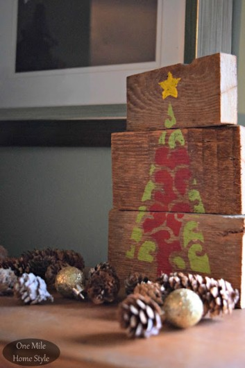 DIY stenciled scrap wood art using the Scroll Christmas Tree Stencil from Cutting Edge Stencils. http://www.cuttingedgestencils.com/scroll-christmas-tree-holiday-card-making-stencil-templates.html