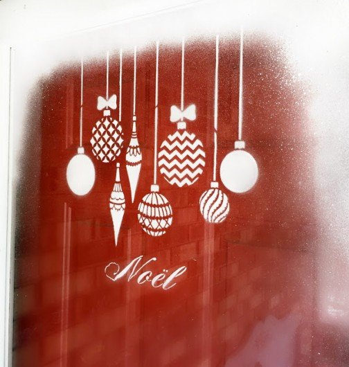 Learn how to stencil a glass door using the Christmas Ornaments Stencil from Cutting Edge Stencils. http://www.cuttingedgestencils.com/christmas-ornamnets-accent-pillow-stencil-kit.html