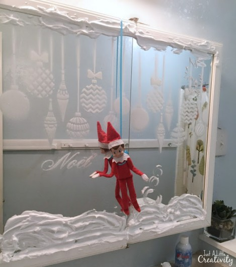 A DIY stenciled bathroom mirror using the Christmas Ornaments Stencil from Cutting Edge Stencils. http://www.cuttingedgestencils.com/christmas-ornamnets-accent-pillow-stencil-kit.html