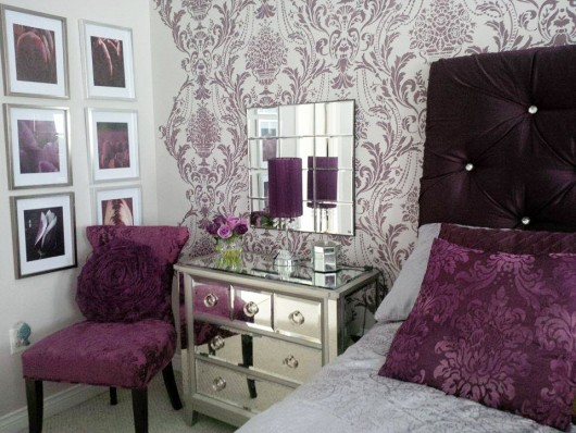 A DIY stenciled bedroom accent wall using the Anastasia Damask Stencil from Cutting Edge Stencils. http://www.cuttingedgestencils.com/damask-anastasia.html