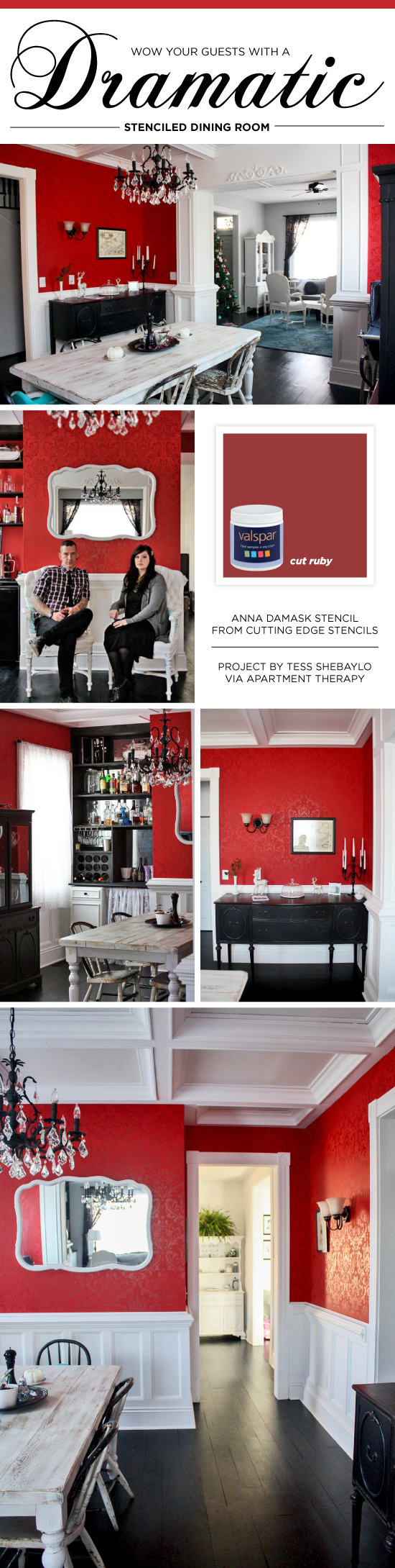 Cutting Edge Stencils shares a DIY bold red stenciled dining room featuring the Anna Damask Stencil. http://www.cuttingedgestencils.com/damask-stencil.html