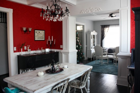 A DIY stenciled red dining room using the Anna Damask Stencil from Cutting Edge Stencils. http://www.cuttingedgestencils.com/damask-stencil.html