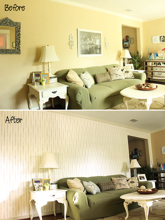 Before and after photos of a living room makeover with a stenciled accent wall using the Beads Allover Stencil from Cutting Edge Stencils. http://www.cuttingedgestencils.com/beads-wall-stencil-pattern.html