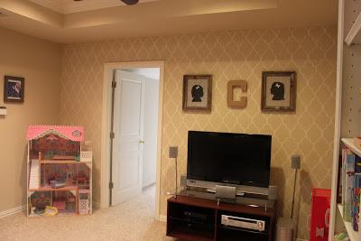 A before photo of playroom. http://www.cuttingedgestencils.com/moroccan-stencil-designs.html