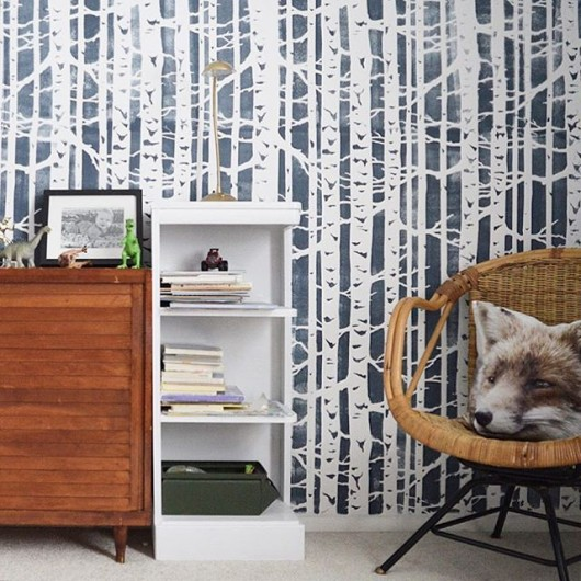 A DIY stenciled accent wall in a boys bedroom using the Birch Forest Allover Stencl from Cutting Edge Stencils. http://www.cuttingedgestencils.com/allover-stencil-birch-forest.html