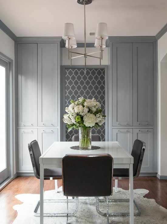 A DIY stenciled gray dining room using the Casablanca Allover Stencil from Cutting Edge Stencils. http://www.cuttingedgestencils.com/allover-stencils.html