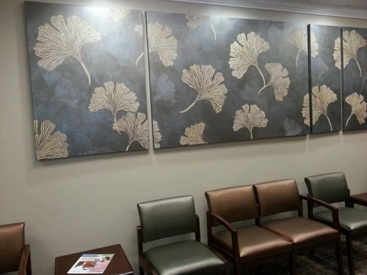 DIY stenciled wall art using the Chinese Ginkgo Stencil from Cutting Edge Stencils. http://www.cuttingedgestencils.com/ginkgo-stencil-kim-myles.html