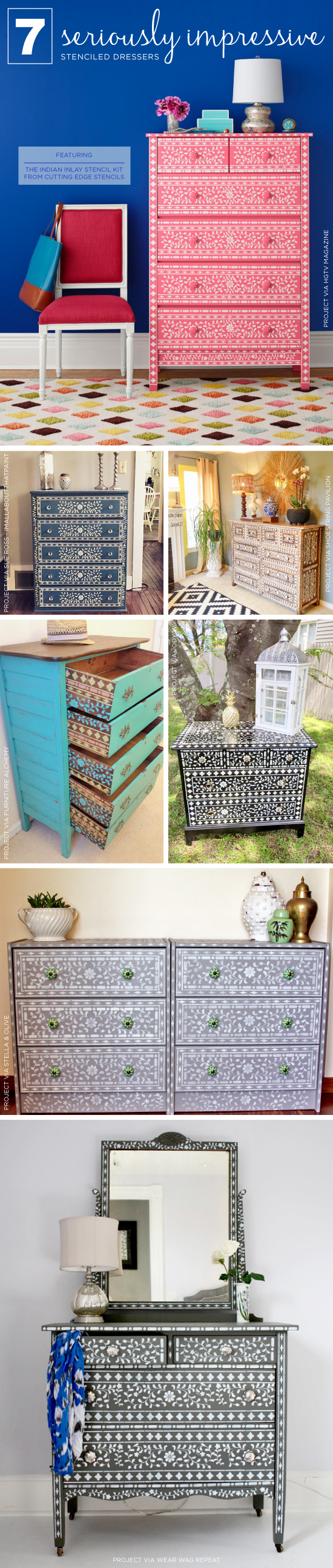 Cutting Edge Stencils shares DIY stenciled dresser ideas using the Indian Inlay Stencil kit. http://www.cuttingedgestencils.com/indian-inlay-stencil-furniture.html