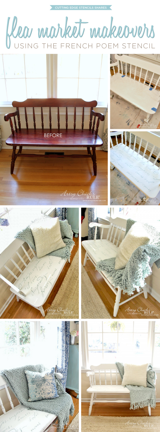 A DIY stenciled bench makeover using the French Poem Stencil from Cutting Edge Stencils. http://www.cuttingedgestencils.com/french-poem-diy-craft-stencil-design.html