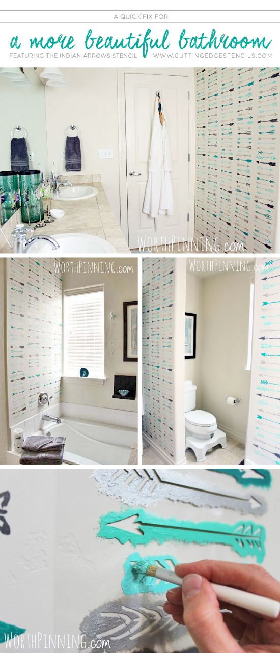Cutting Edge Stencils shares a DIY stenciled bathroom makeover using the Indian Arrows Allover Stencil.  http://www.cuttingedgestencils.com/indian-arrows-stencil-pattern-for-walls.html