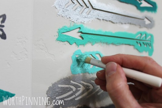 Learn how to stencil a DIY accent wall in a bathroom using the Indian Arrows Allover Stencil from Cutting Edge Stencils. http://www.cuttingedgestencils.com/indian-arrows-stencil-pattern-for-walls.html
