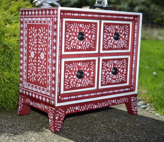 DIY stenciled piece of furniture using the Indian Inlay Stencil Kit from Cutting Edge Stencils. http://www.cuttingedgestencils.com/indian-inlay-stencil-furniture.html