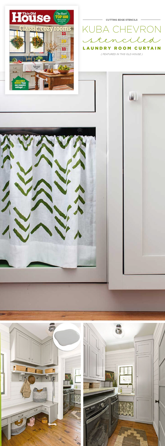 A DIY stenciled laundry room under the sink curtain using the Kuba Chevron Stencil in green from Cutting Edge Stencils. http://www.cuttingedgestencils.com/kuba-chevron-stencil-kim-myles.html