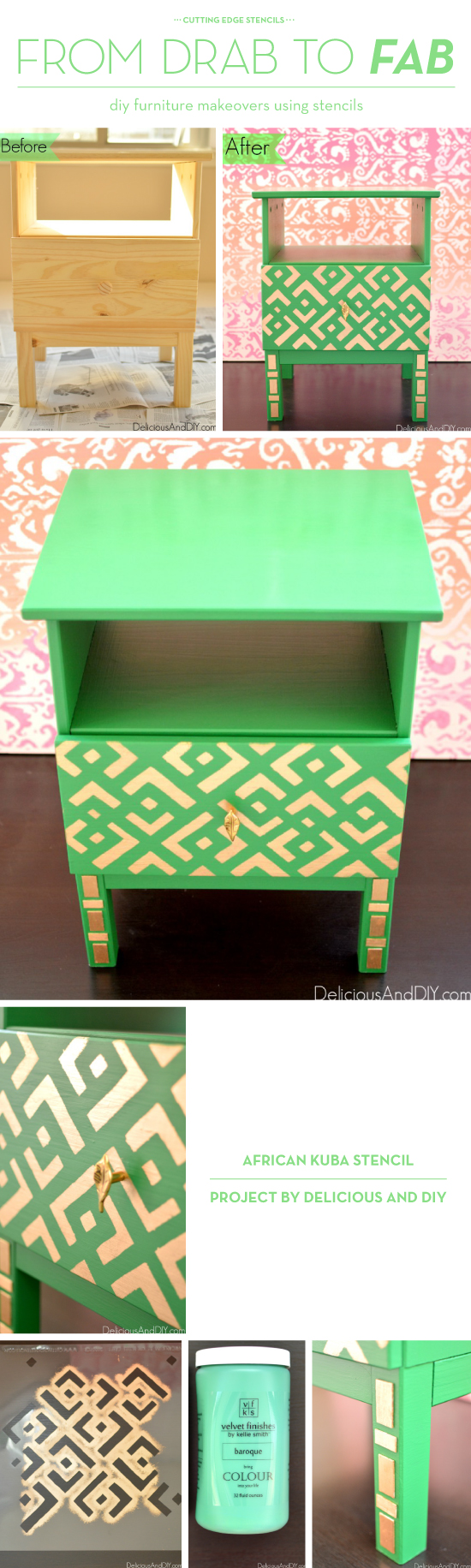A DIY stenciled nightstand in gold and green using the African Kuba Craft Stencil from Cutting Edge Stencils. http://www.cuttingedgestencils.com/kuba-stencil-pattern-stencils.html