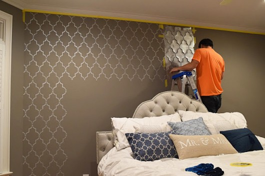 Bedroom Makeover: A Stenciled Touch of Drama