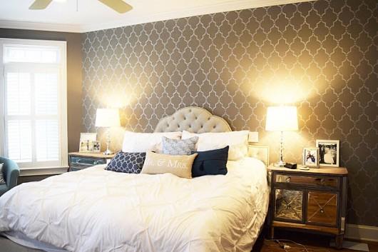 A DIY stenciled accent wall in a bedroom using the Marrakech Trellis Allover Stencil from Cutting Edge Stencils. http://www.cuttingedgestencils.com/moroccan-stencil-marrakech.html