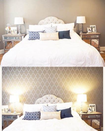 Before and After of a DIY stenciled accent wall in a bedroom using the Marrakech Trellis Allover Stencil from Cutting Edge Stencils. http://www.cuttingedgestencils.com/moroccan-stencil-marrakech.html