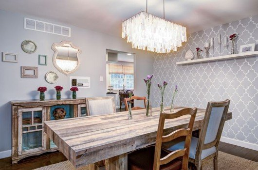 A DIY Stenciled Dining Room Accent Wall Using The Marrakech Trellis Allover  Stencil From Cutting Edge