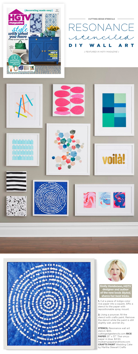 Easy and affordable DIY wall art using the Resonance Stencil from Cutting Edge Stencils. Project spotted in HGTV Magazine. http://www.cuttingedgestencils.com/resonance-modern-wall-art-stencil.html