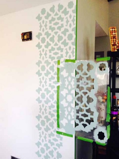 Stenciling A Diy Accent Wall Using The Zamira Allover Stencil From Cutting Edge Stencils Http