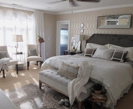 A DIY stenciled accent wall in a bedroom using the Entwined Allover Stencil. http://www.cuttingedgestencils.com/stencil-pattern-2.html