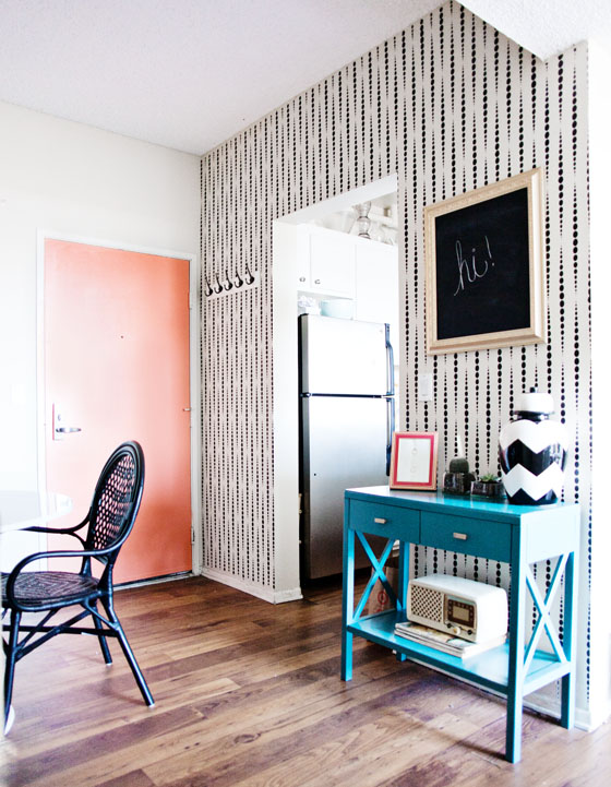 A DIY stenciled entryway wall using the Beads Allover Stencil from Cutting Edge Stencils for a wallpaper look. http://www.cuttingedgestencils.com/beads-wall-stencil-pattern.html