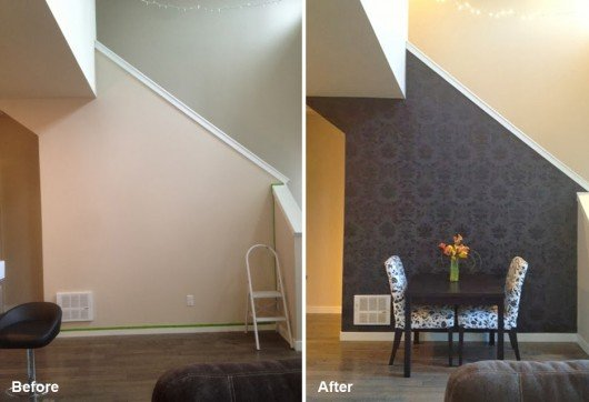 Before and after of a DIY stenciled accent wall using the Gabrielle Damask Stencil from Cutting Edge Stencils. http://www.cuttingedgestencils.com/damask-stencil-3.html