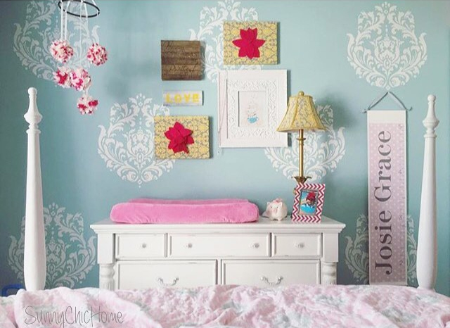 A DIY stenciled girls bedroom accent wall using the Brocade No. 1 Stencil from Cutting Edge Stencils. http://www.cuttingedgestencils.com/Brocade-stencil-damask.html