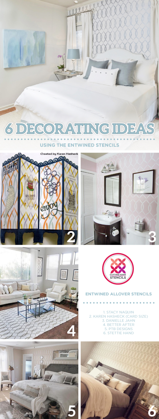 Cutting Edge Stencils shares DIY stenciled home decorating ideas using the Entwined Allover Stencil. http://www.cuttingedgestencils.com/stencil-pattern-2.html