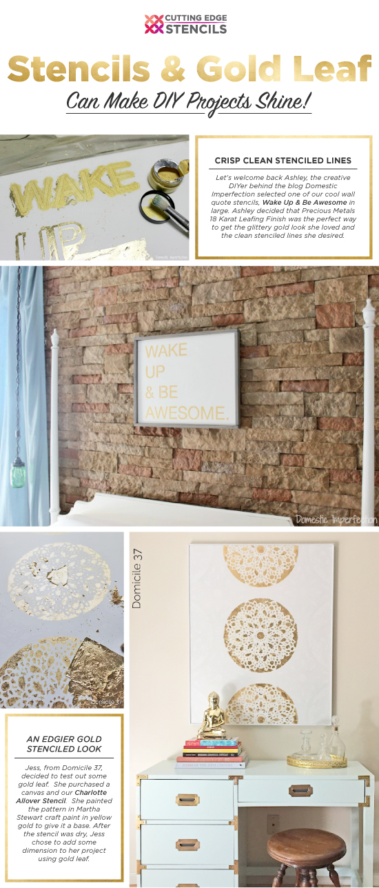 Cutting Edge Stencils shares tips on how to stencil using gold leaf for DIY decor projects.  http://www.cuttingedgestencils.com/charlotte-allover-stencil-pattern.html