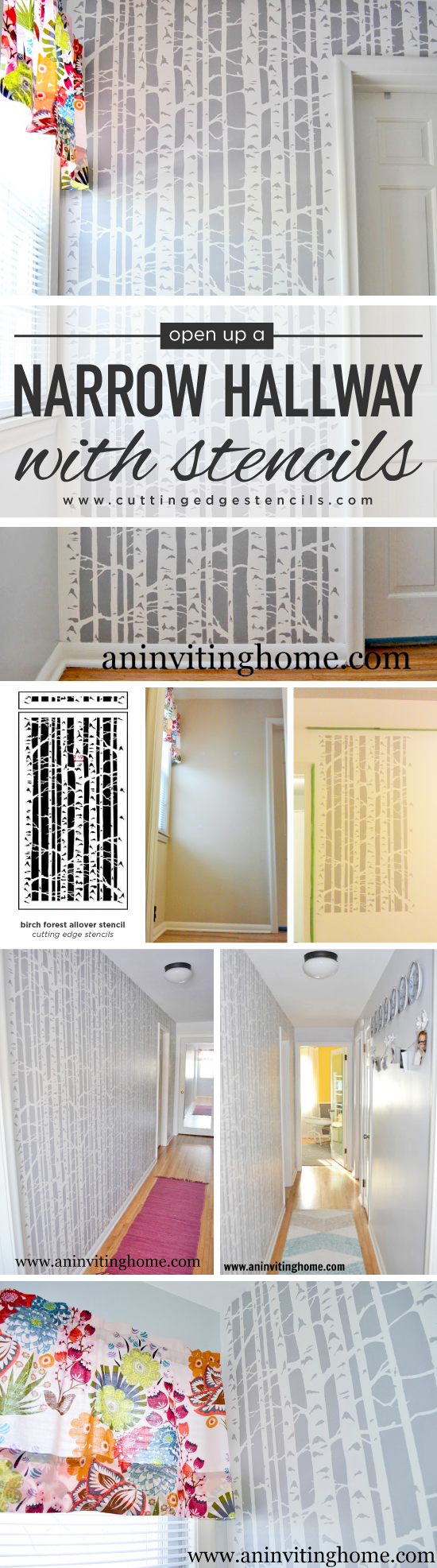 Cutting Edge Stencils shares a DIY stenciled hallway project using the Birch Forest Allover Stencil. http://www.cuttingedgestencils.com/allover-stencil-birch-forest.html