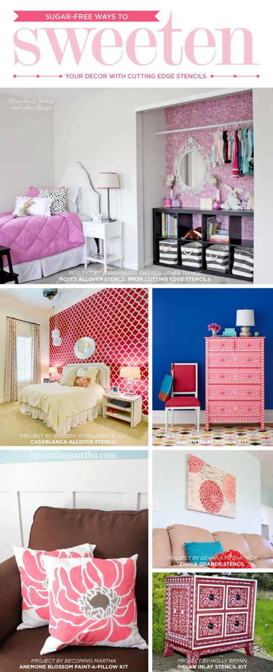 Cutting Edge Stencils Shares DIY Stenciled Home Decor Ideas In Red And  Pink. Http: