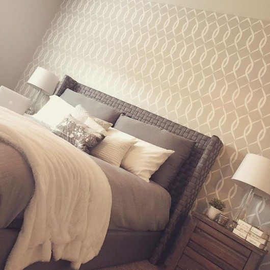 A DIY stenciled bedroom accent wall using the Entwined Allover Stencil from Cutting Edge Stencils. http://www.cuttingedgestencils.com/stencil-pattern-2.html